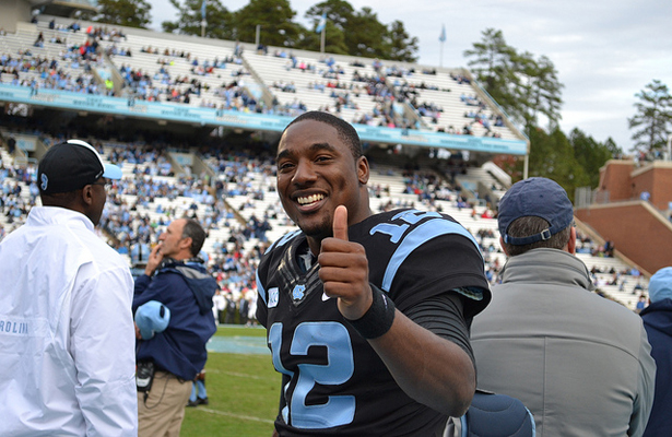 If North Carolina pulls off the upset over Clemson on Saturday, Marquise Williams and the Tar Heels will be all thumbs up. Photo Courtesy: Elliott Rubin