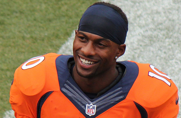 Broncos WR Emmanuel Sanders has 49 receptions for 614 yards and three TDs this season. Photo Courtesy: Jeffrey Beall
