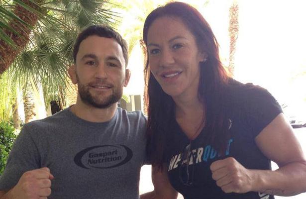 Frankie Edgar (l.) and Cris Cyborg (r.) strike a pose for UFC fans. Photo Courtesy: Sal Ami