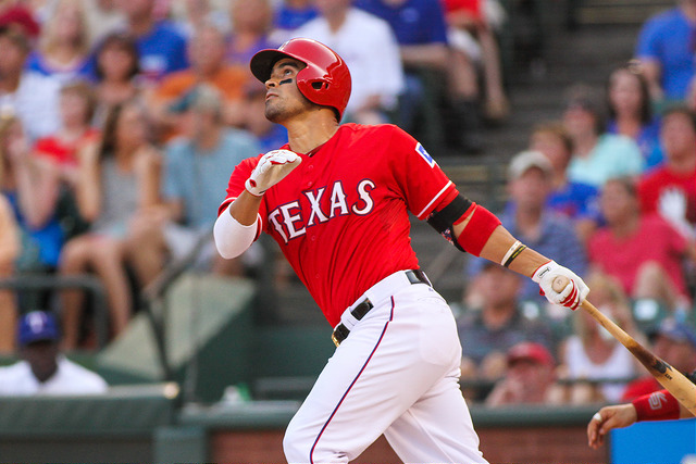 Texas Rangers catcher Robinson Chirinos had an excellent road trip with a six-game hit streak. Photo Courtesy: Darryl Briggs