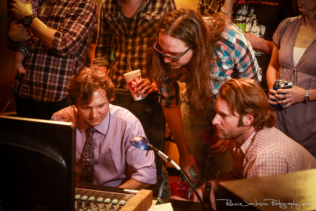 Andrew Tinker (producer) with Jeremy Hutchison and Aaron Borden (Exit 380) at Big Acre Sound, Photo by Ronnie Jackson