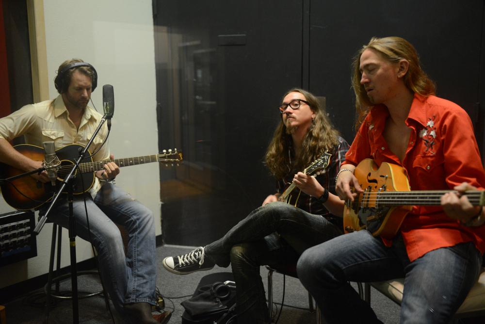 "Aaron Borden, Jeremy Hutchison, Jon Hutchison (Exit 380) Tracking ""La Rosa Carlina"", Photo by James Villa"