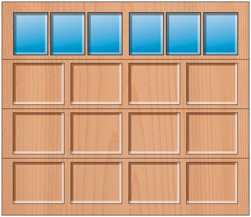 Everite Door - 4 Panels 3 Lite Square Top