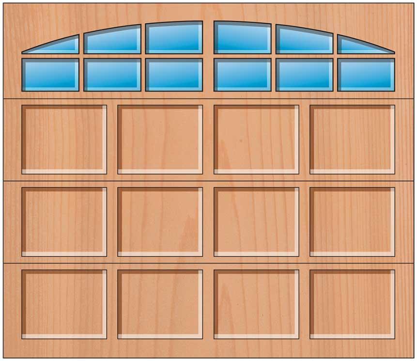 Everite Door - 4 Panels 3 OV 3 Arched Lites