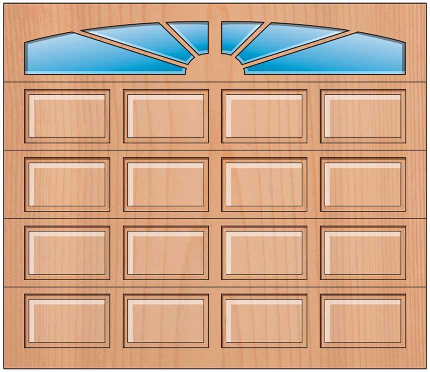 Everite Door - 4 Panels Sunburst Arched Lites