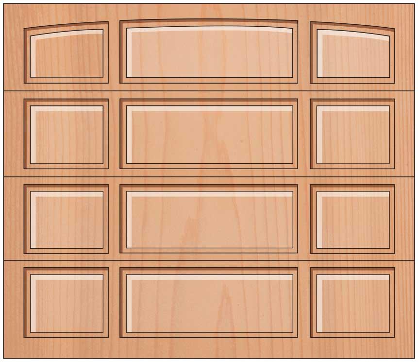 Everite Door - 2 Short 1 Long Panel Solid Arched Top