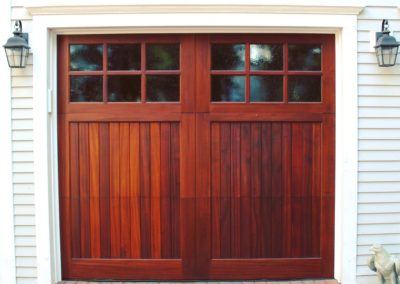 Charles River Custom Series Cambria Model Stain Grade Sapele Wood V-Groove T&G Panels 3 over 3 Lite Square Glass