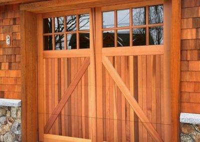"""North Country Custom Series York Model Stain Grade Western Red Cedar Wood V-Groove T&G Panels 36"""" Top Glass Section Insulated Clear 4 over 4 Lite Square Glass Factory Applied Clear Satin Finish"""