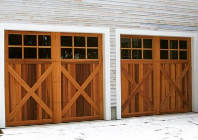 Charles River Custom Series Cambria Model Stain Grade Western Red Cedar Wood V-Groove T&G Panels 3 over 3 Lite Square Glass