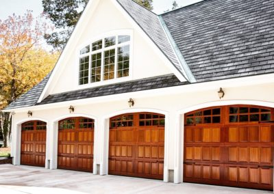 Allegheny River Semi-Custom Series Clearfield Model Sapele Stain Grade Wood Sapele Raised Panels 4 over 4 Lite Arched Glass