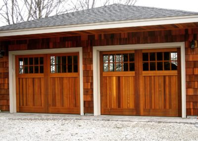 Charles River Custom Series Cambria Model Stain Grade Western Red Cedar Wood V-Groove T&G Panels 5 over 5 Lite Square Glass