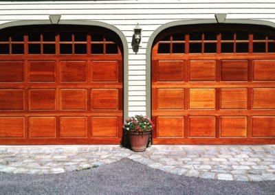 Fulton Raised Panel Traditional Model Stain Grade Meranti Wood 2 over 2 Lite Arch Glass