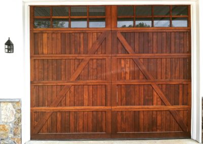 Allegheny River Semi-Custom Series Chester Model Stain Grade Wood V-Groove T&G Panels 4 over 4 Lite Square Glass