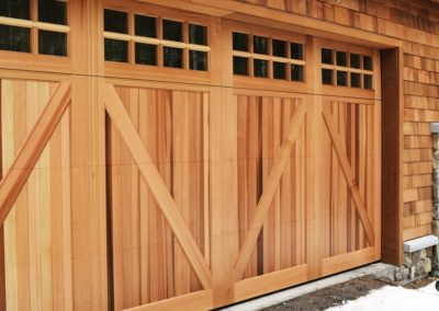 North Country Custom Series York Model Stain Grade Western Red Cedar Wood V-Grooved T&G Panels Insulated Clear 4 over 4 Lite Square Glass
