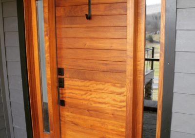 Entryway Door Series Custom Flush Model Stain Grade Honduras Mahogany Wood