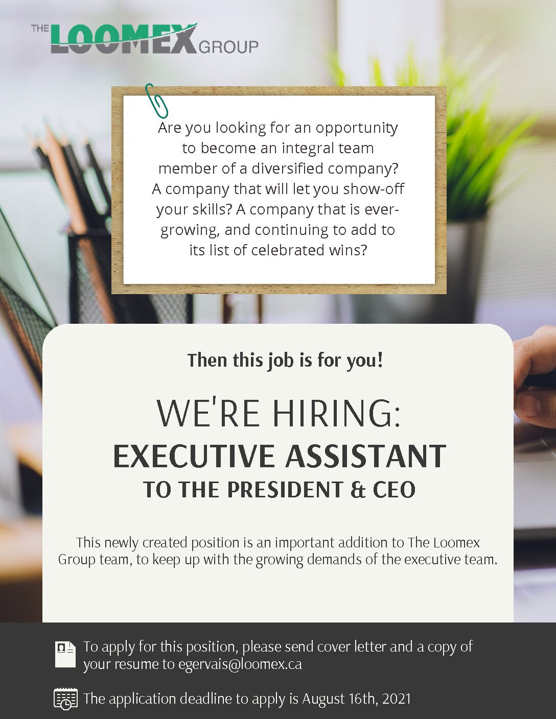 We're Hiring: Executive Assistant to the President & CEO