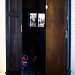 Video installation in the wardrobe by Angela Mellen; photo by Richard Kaby