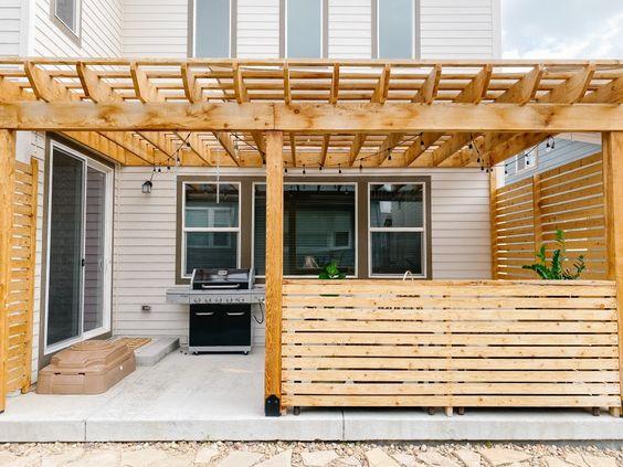 cabin style pergola