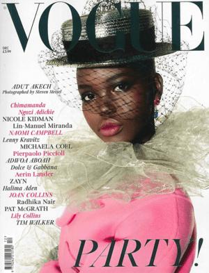Vogue December 2019 Cover featuring Adut Akech