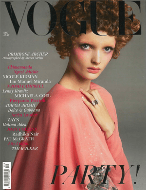 Vogue December 2019 Cover featuring Primrose Archer