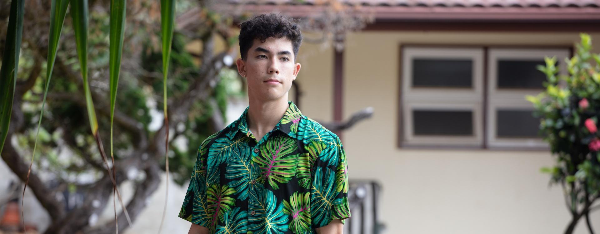 Luke in Men's Fluorescent Monstera Aloha Shirt
