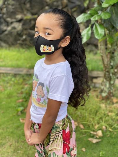 Zoe in a Belle & Zoe Face Mask