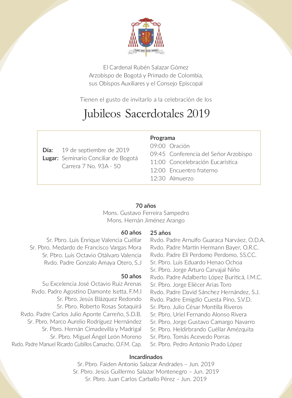 Invitacioìn Jubileos Sacerdotales 2019