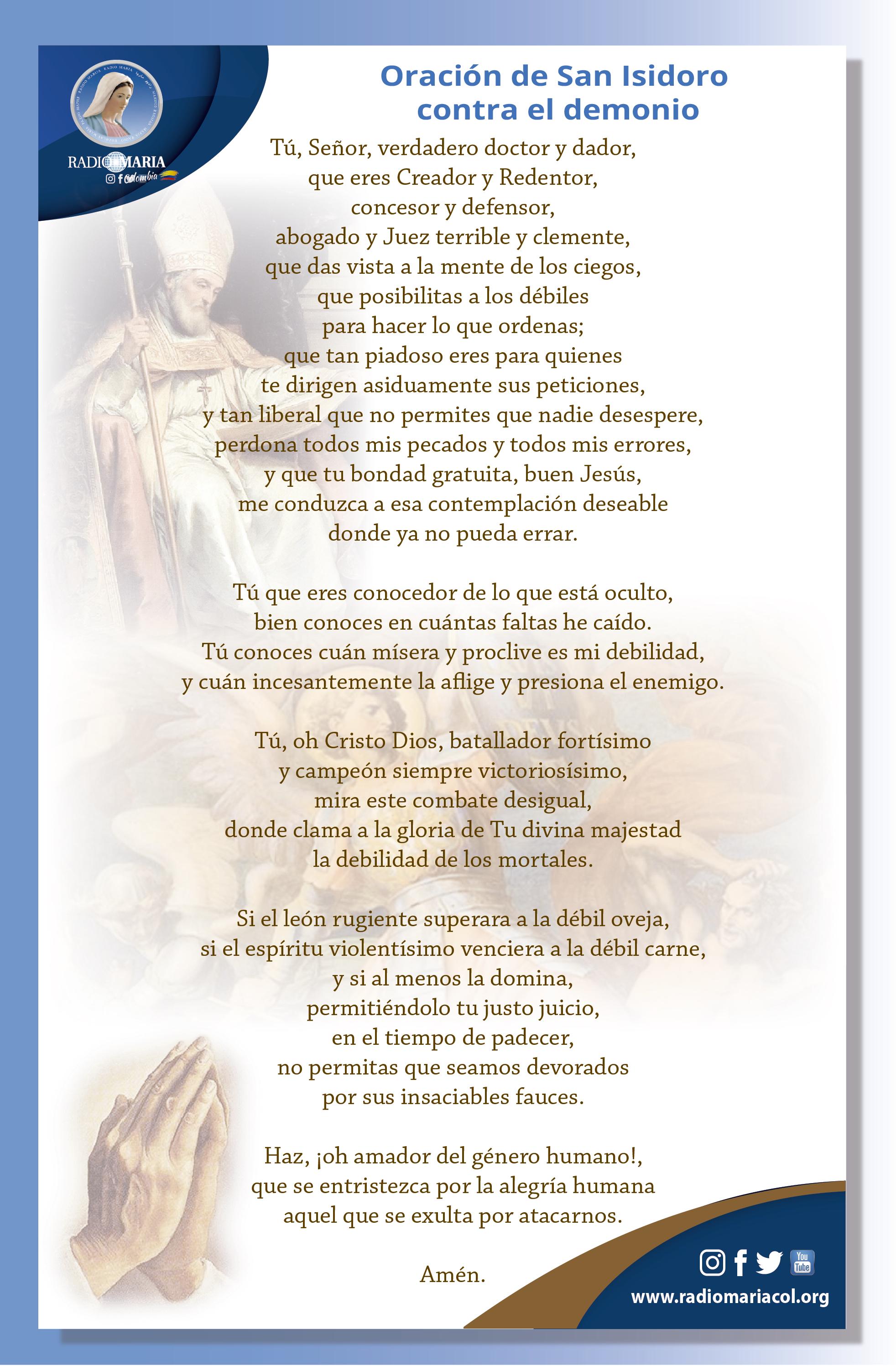 Oración de San Isidoro contra el demonio