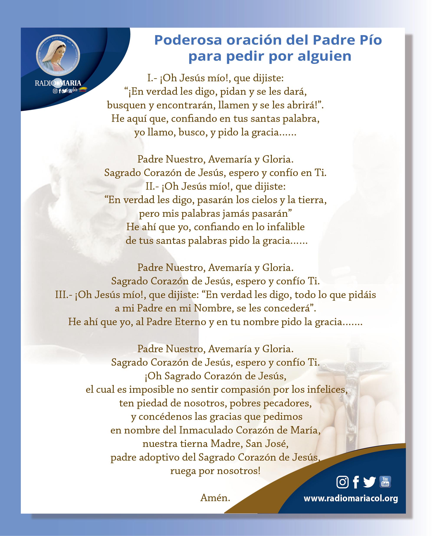 Oración del Padre Pío para pedir por alguíen