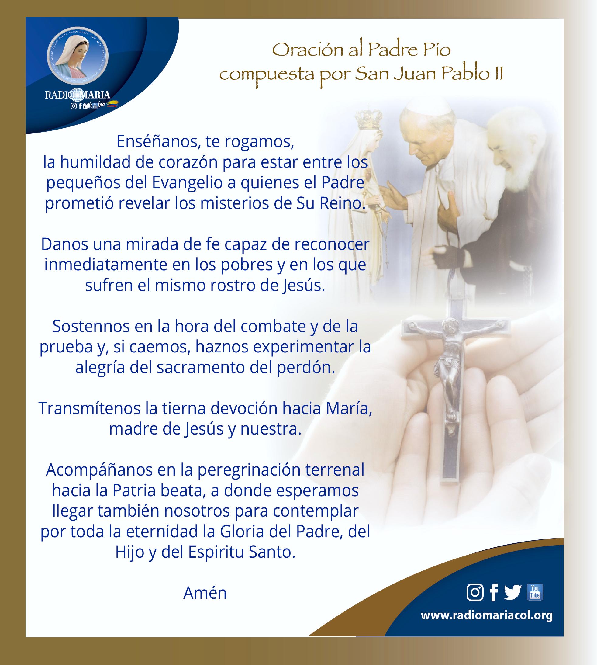 Oración del Padre Pio por el Papa Juan Pablo 2