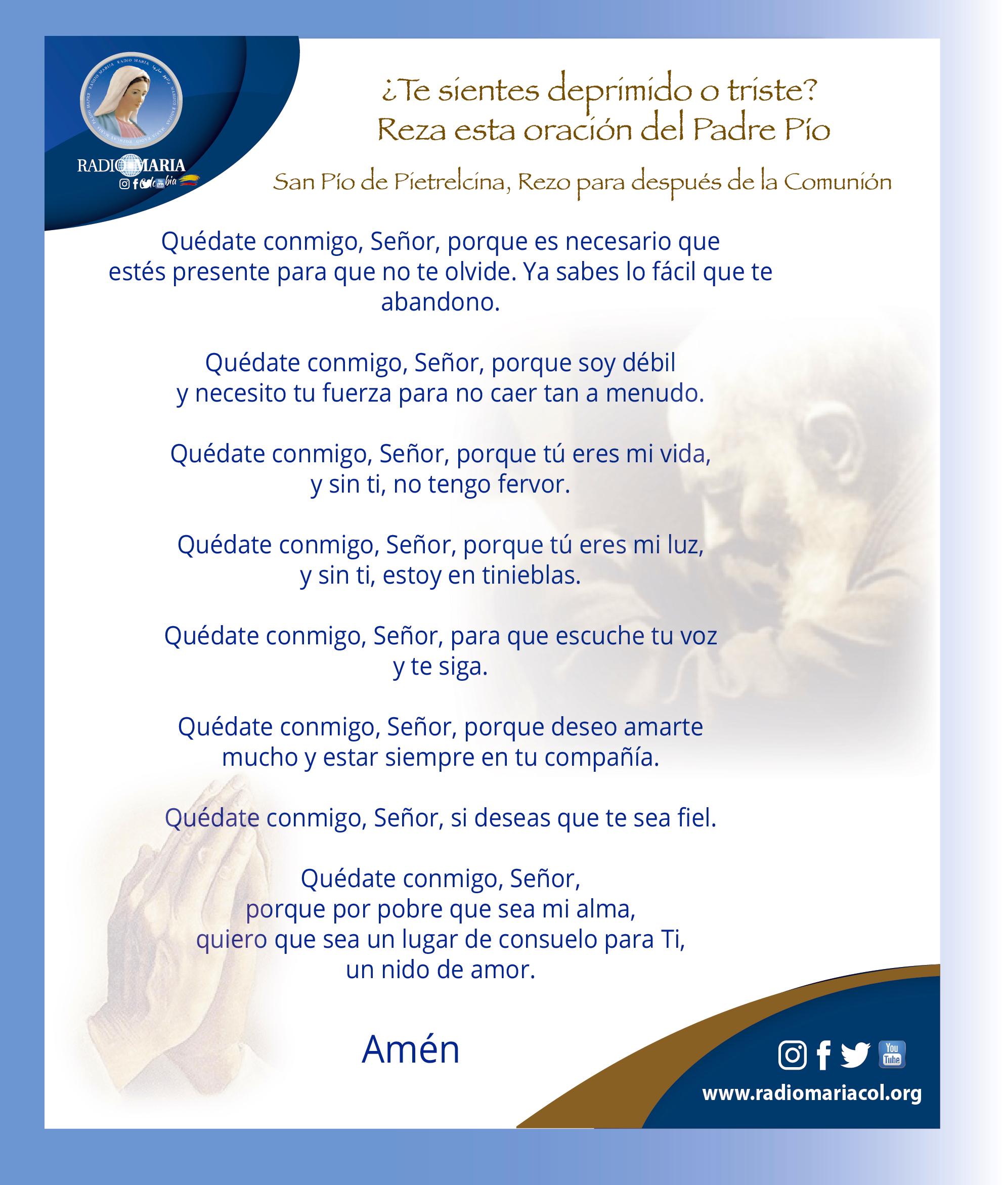 oración del Padre Pío para cuando estas triste