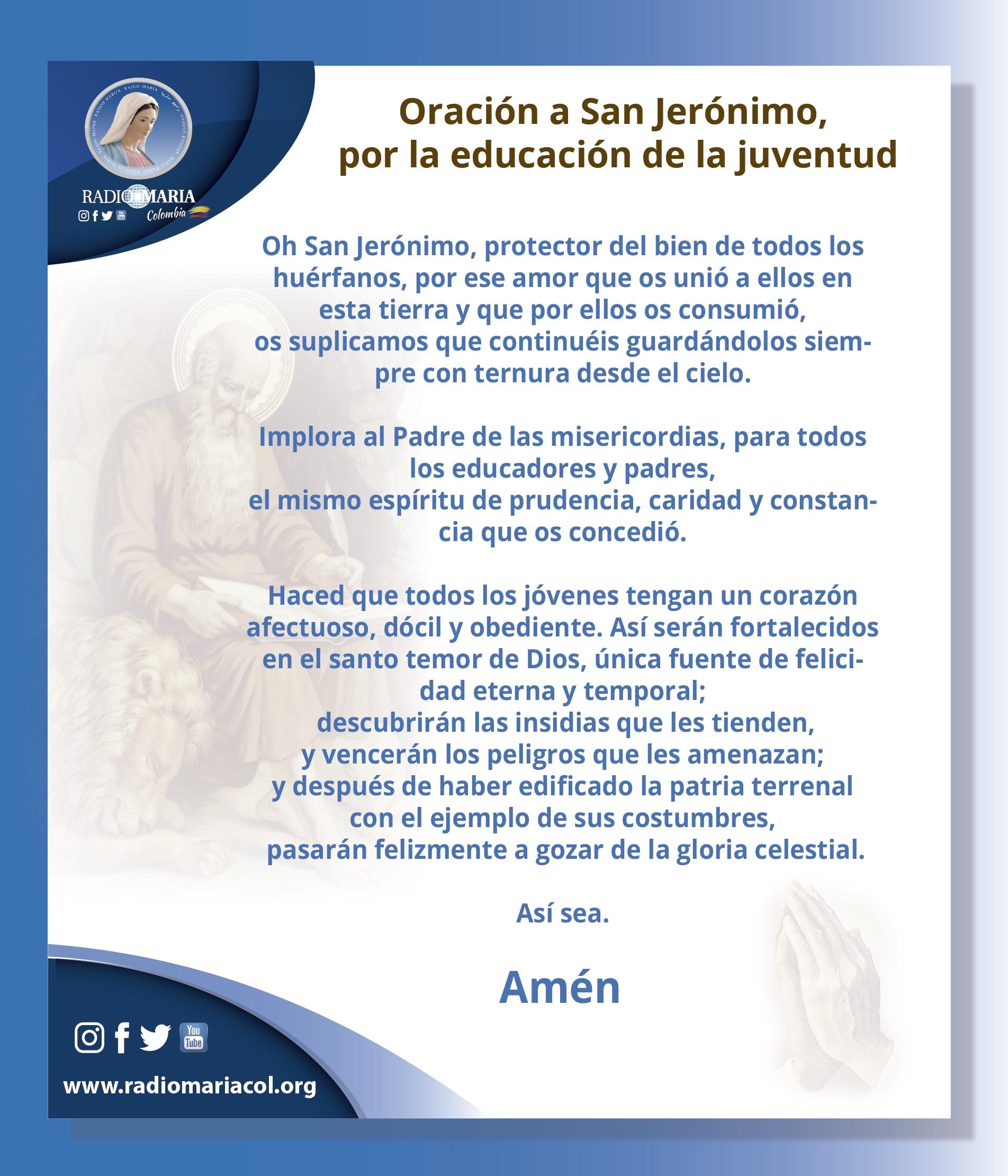 2 Oración a San Jerónimo, por la educación de la juventud