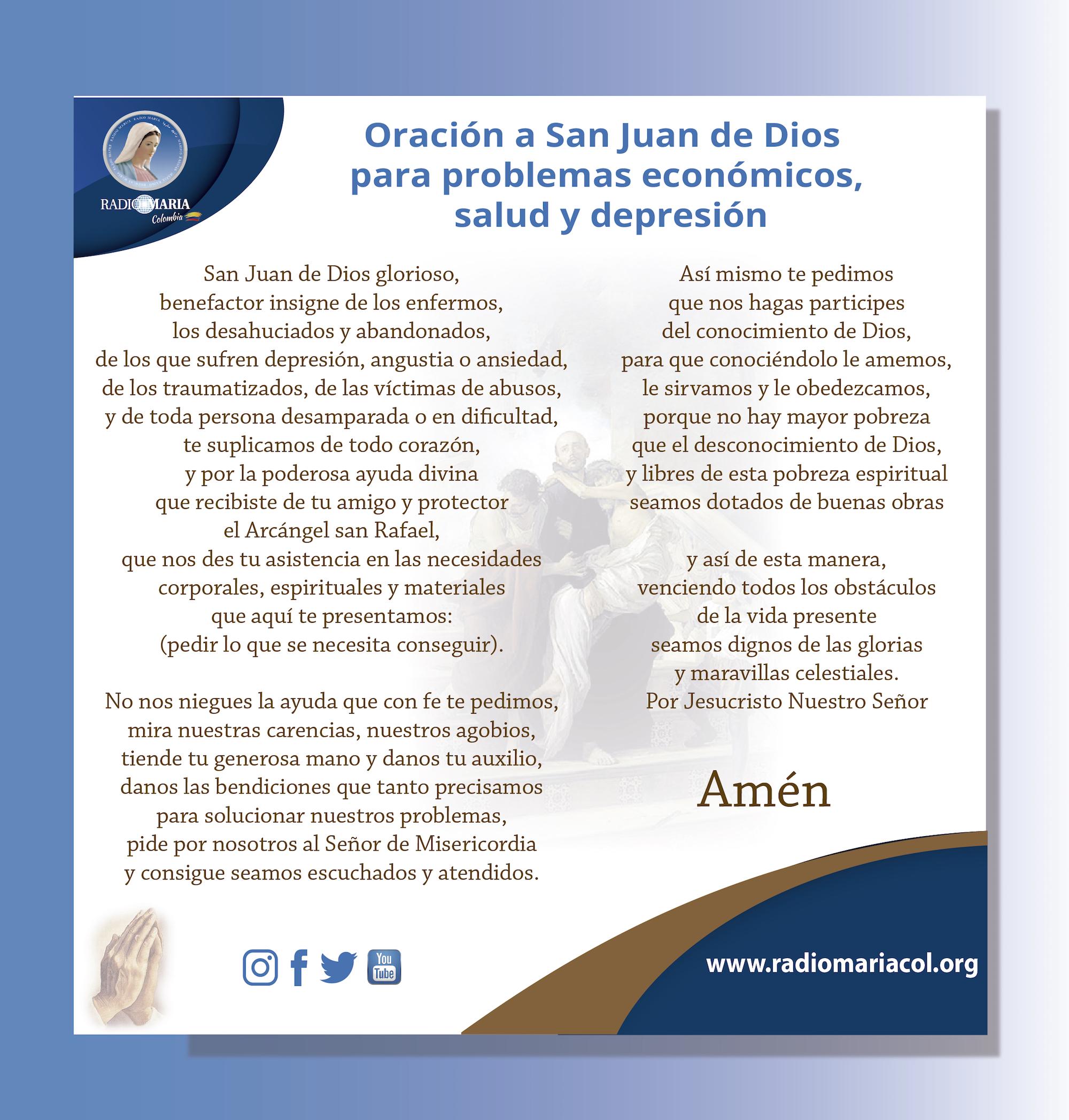 Oración a San Juan de Dios para problemas económicos, salud y depresión