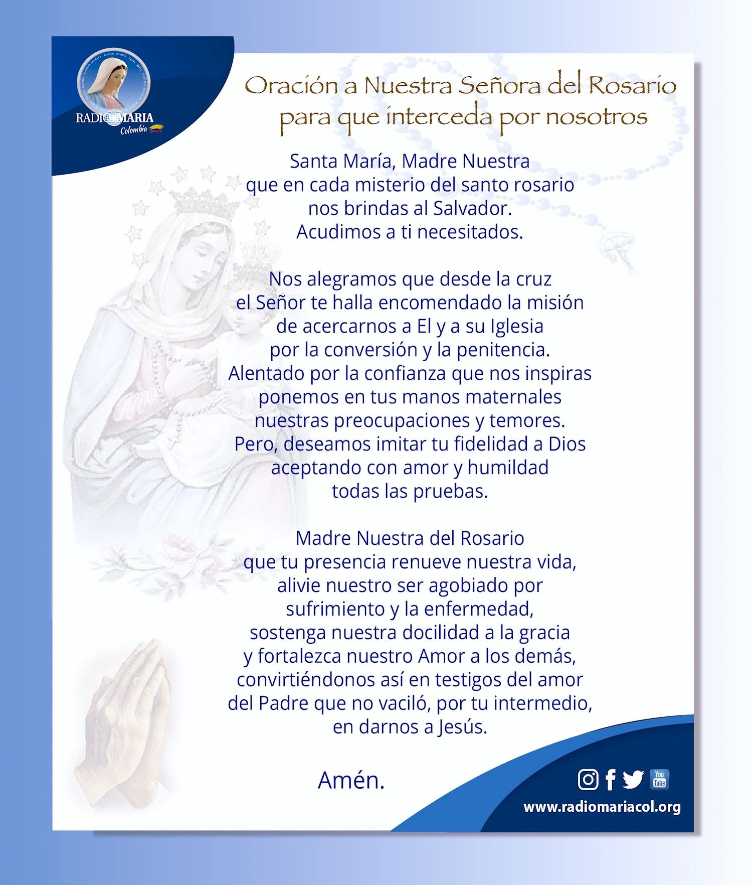 Oración a la Virgen del Rosario para que interceda por nosotros