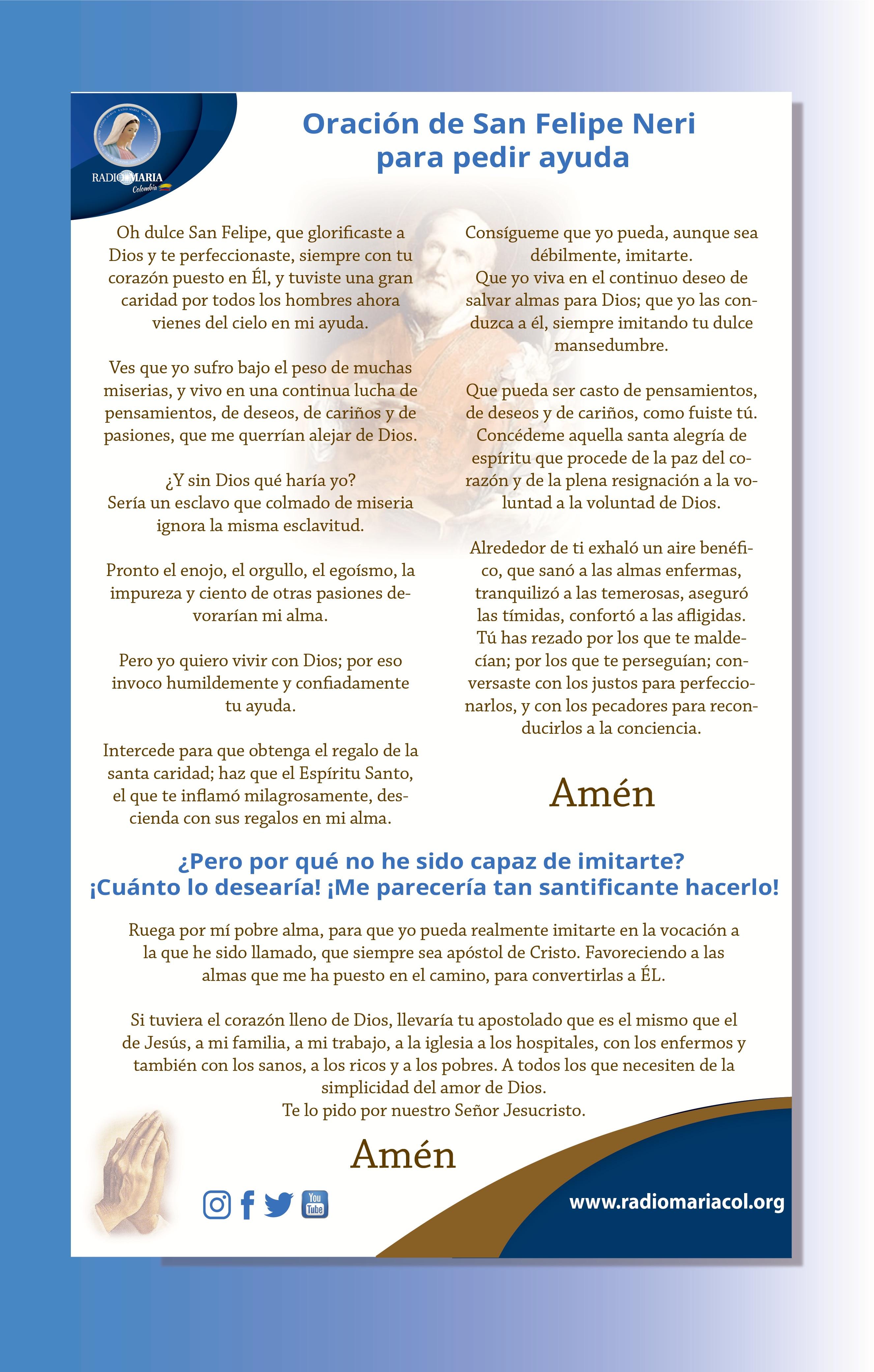 Oración de San Felipe Neri para pedir ayuda