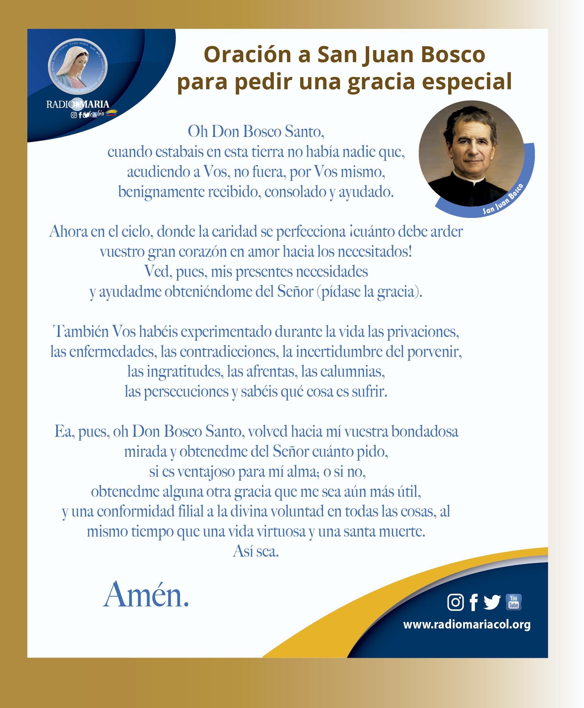 Oración a San Juan Bosco para pedir una gracia especial