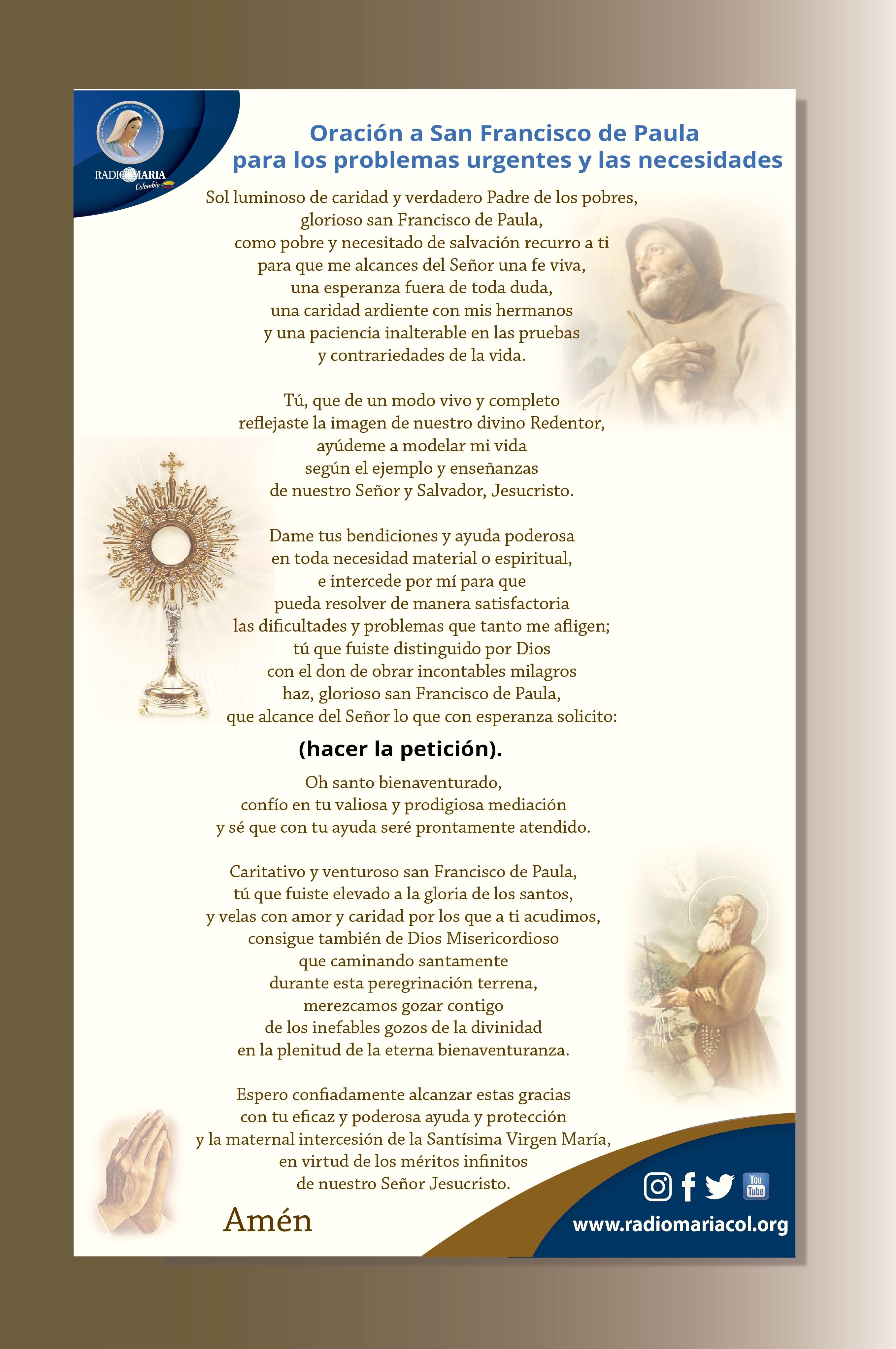 Oración francisco de Paula