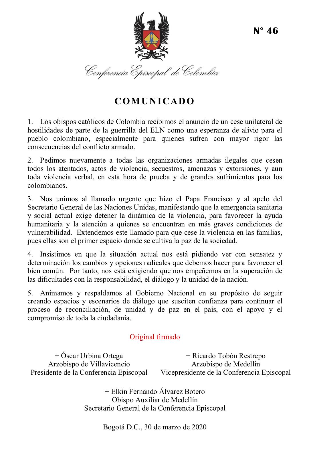 COMUNICADO Obispos de Colombia ven con esperanza el cese al fuego de guerrilla ELN