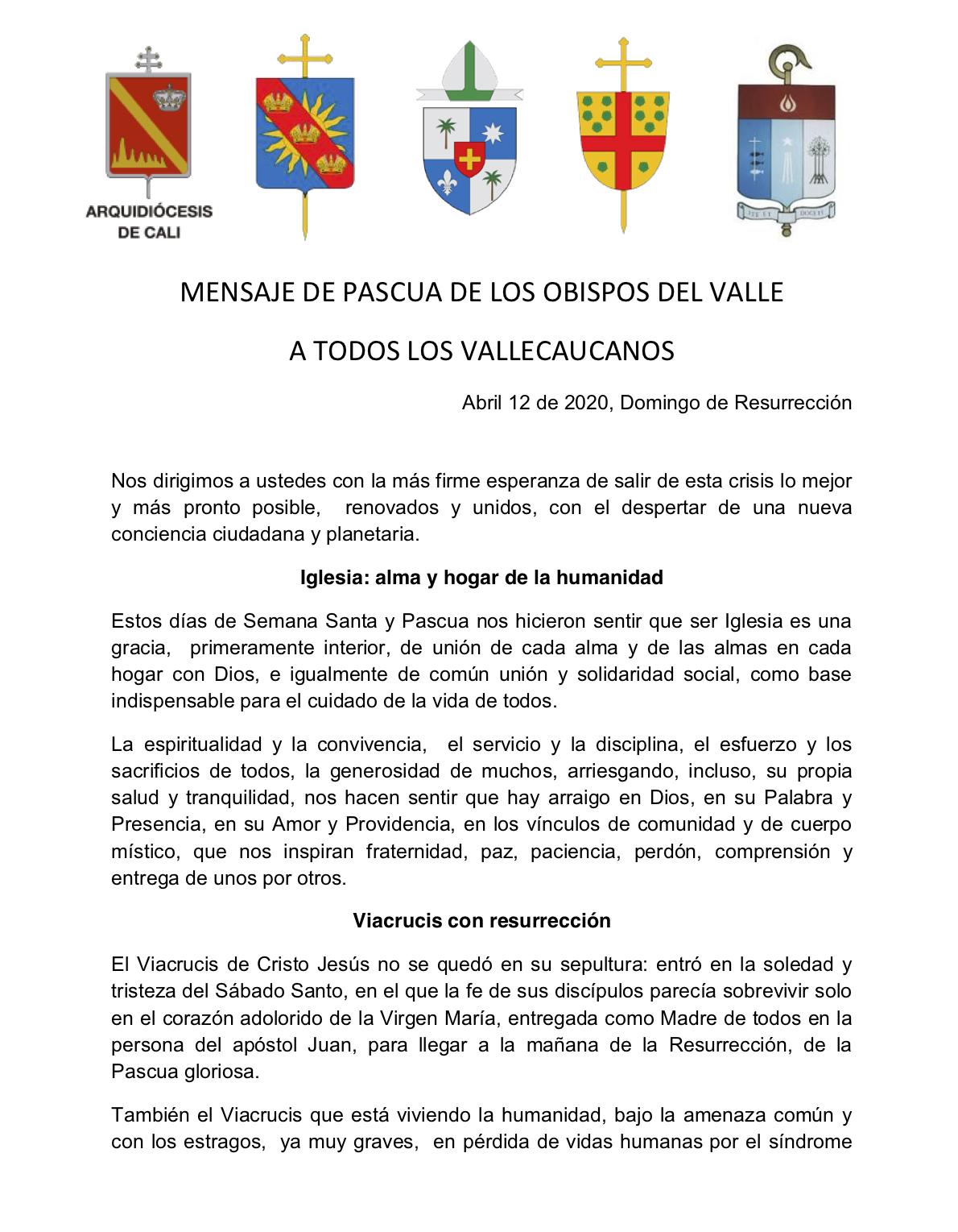 1 comunicado obispos del Valle