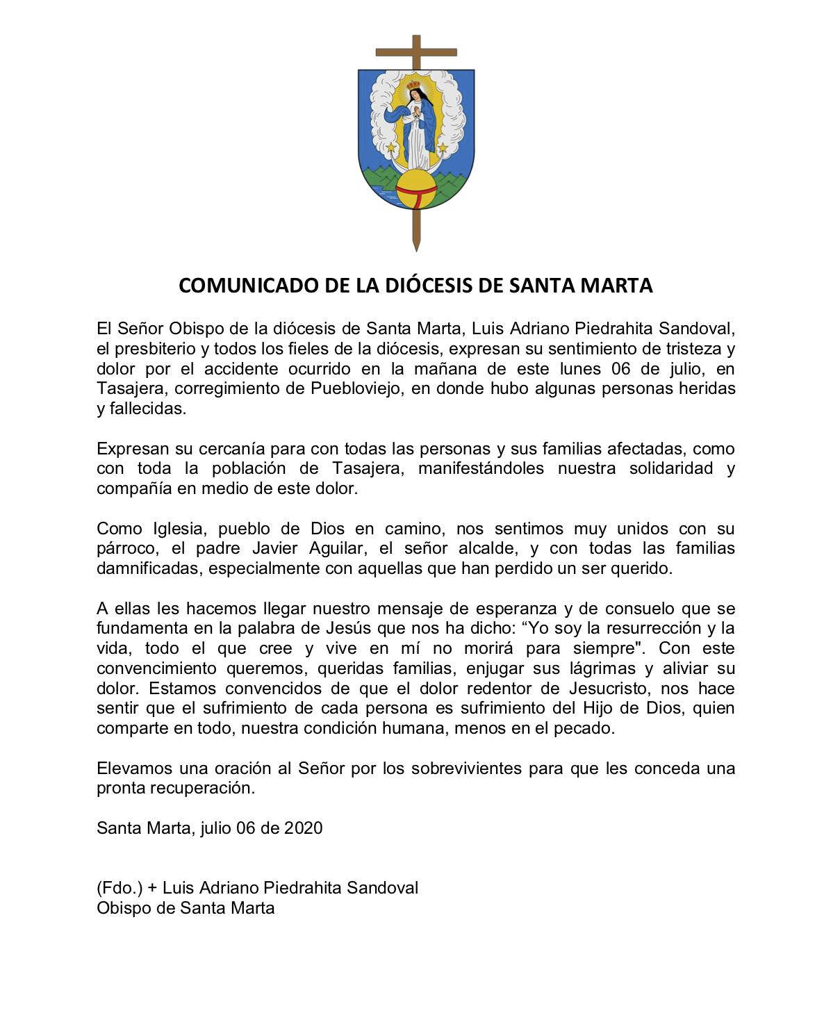 Comunicado-diocesis-santa-marta-condolencia-familias