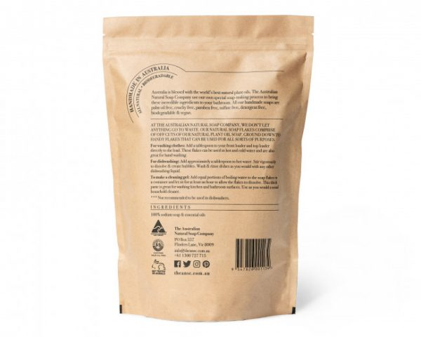 eco friendly soap flakes back packaging