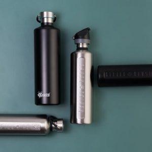 Reusable stainless steel drink bottles