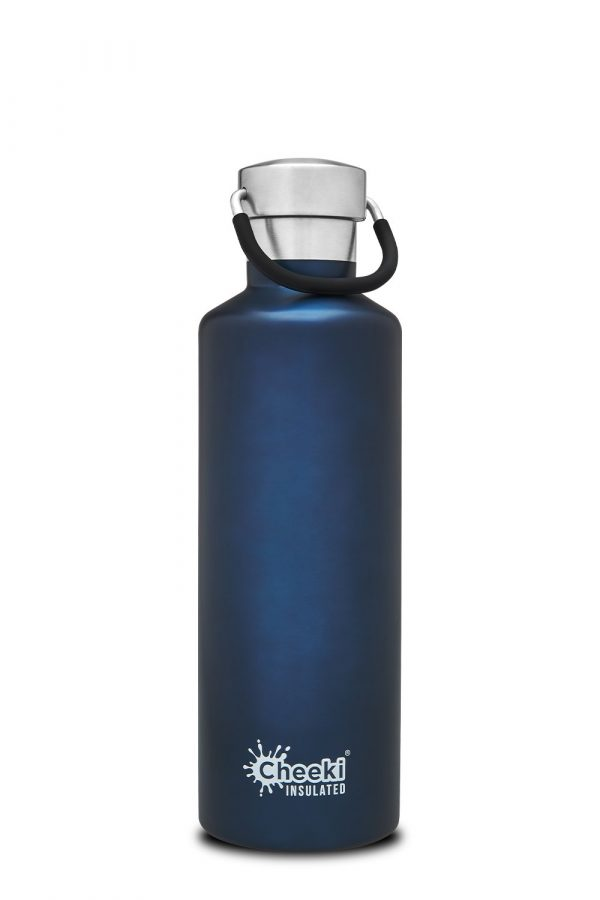 Reusable stainless steel blue water bottle