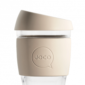 reusable glass cup of coffee