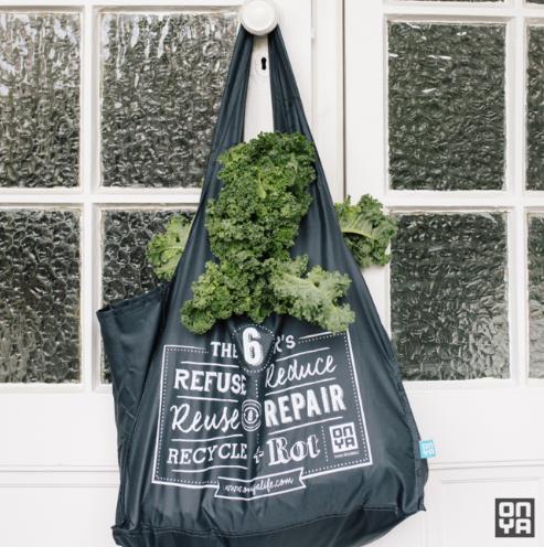 reusable gray tote bag