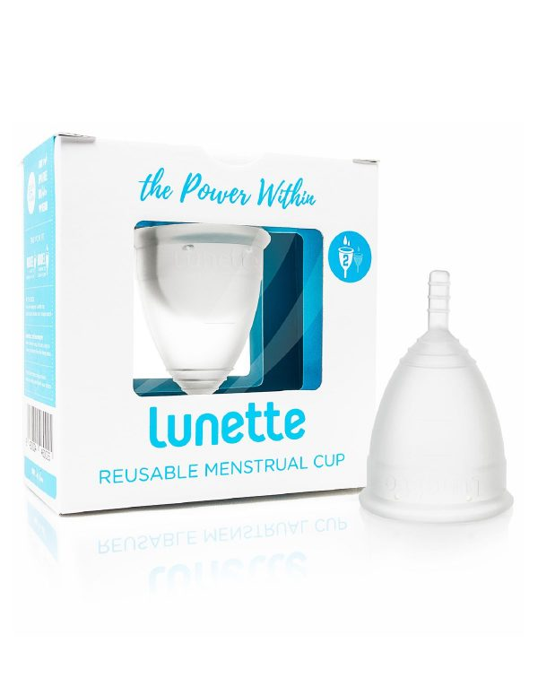 reusable menstrual cup in white