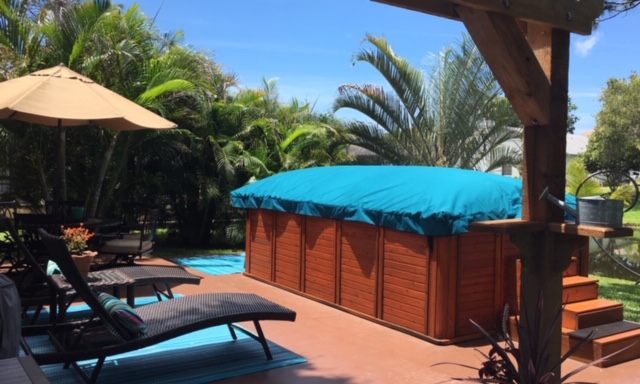 Swim Spa Cover in turquoise for free standing swim spa