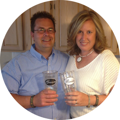 webster and valerie holding clear tumblers