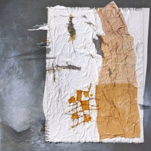 """Navigating on Cloth Over Grey Mist acrylic, canvas, gesso, thread, mulberry paper, screening, waxed linen on stretched canvas 30"""" x 30"""""""
