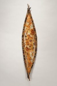 """Signs and Symbols from Another World II rusted mulberry paper, wax linen, willow, paper rush, beads 23""""h x 4""""w x 2""""d. SOLD"""